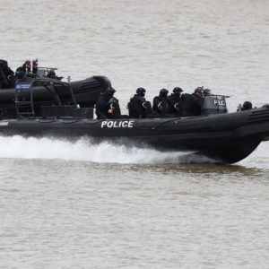 Police officers taking part in a multi-agency exercise, which will test the emergency services' response to a marauding terrorist attack in London, on the river Thames in east London. PRESS ASSOCIATION Photo. Picture date: Sunday March 19, 2017. Photo credit should read: Gareth Fuller/PA Wire