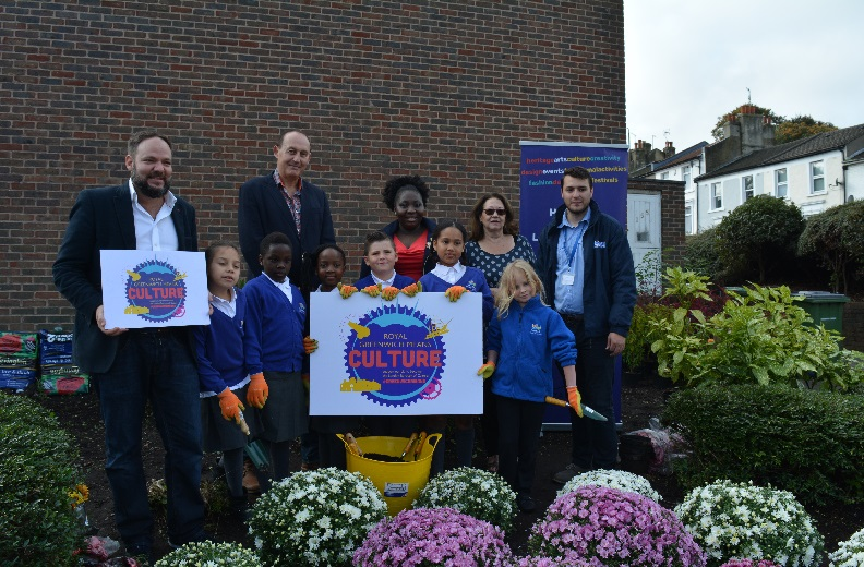 Councillor Jackie Smith and Bradley Hemmings, MBE from GDIF, with children from Foxfield Primary School join the Royal Greenwich bid to become London Borough of Culture