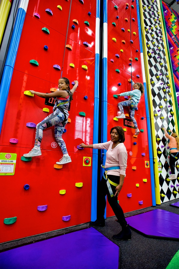 Councillor Denise Scott-McDonald, Cabinet Member for Culture, Creative Industries and Community Well-Being, in the 'clip and climb' climbing hall at the Sutcliife Park Sports Centre