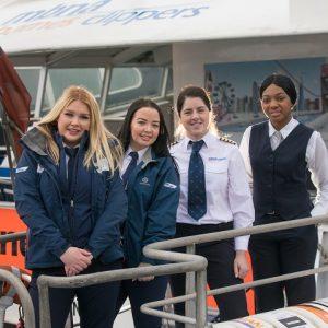 MBNA-Thames-Clippers-all-female-crew-for-International-Womens-Day-2018-L-R_-Ellie-Wooldridge-Emma-Lewis-Joy-McGlinchey-Sitarah-Bailey-Thompson