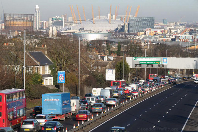 Queuing traffic on the approach to the Blackwall Tunnel