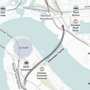 The proposed route of the new Silvertown Tunnel