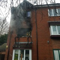 First Floor flat destroyed by fire in Thamesmead