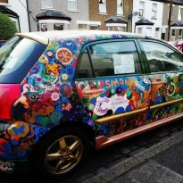 Decorated car raising cancer funds