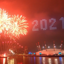 300 Drones above Greenwich welcome in 2021